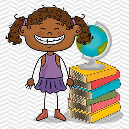 educated: girl student books global vector illustration eps10 eps 10