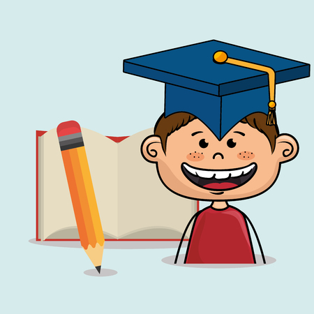 student boy notebook pencil vector illustration eps10 eps 10