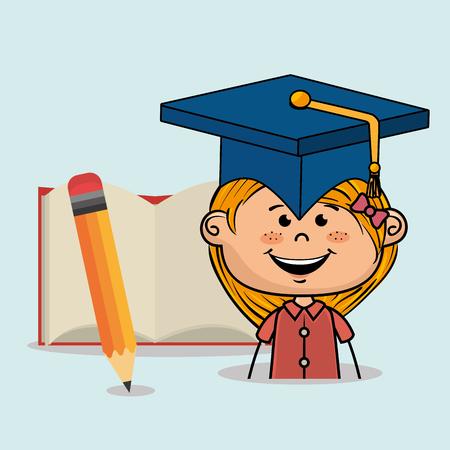 student girl notebook pencil vector illustration eps10 eps 10
