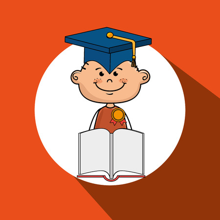 esp: boy student book cap vector illustration eps10 esp 10