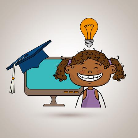 girl student laptop idea vector illustration eps10 eps 10 Illustration