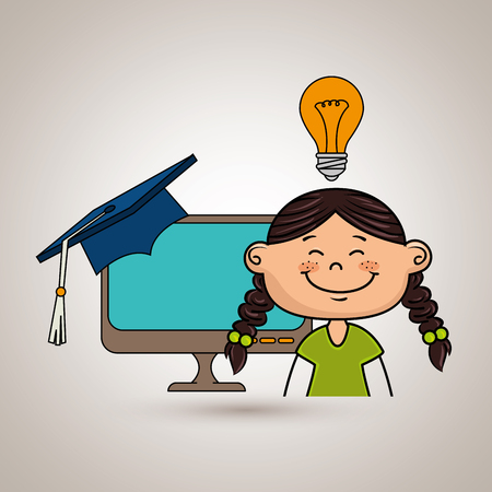 girl student laptop idea vector illustration eps10 eps 10 Illustration