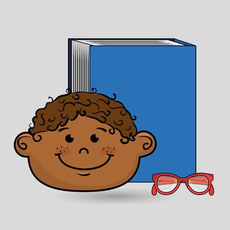 student boy book glasses study vector illustration eps10 Illustration