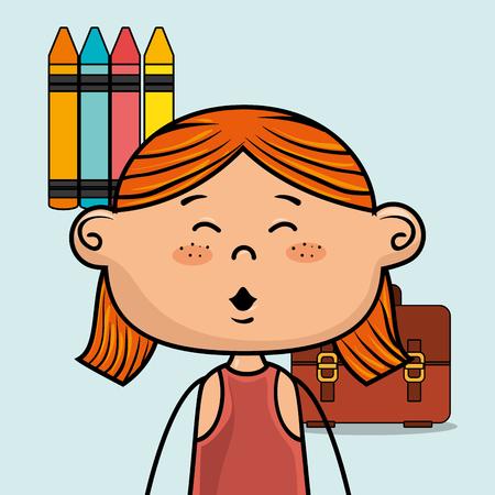 girl student colors school baggage vector illustration eps10 eps 10 Illustration