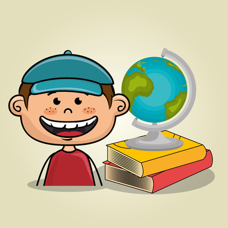 educated: boy student books global vector illustration eps10 eps 10