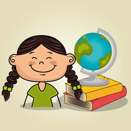 girl student books global vector illustration eps10 eps 10