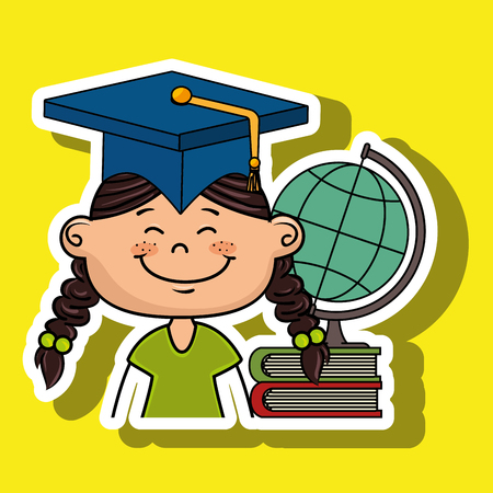 self discovery: girl student world map book vector illustration eps10