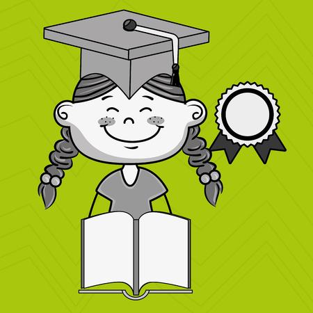 esp: girl student book cap vector illustration eps10 esp 10
