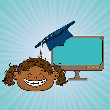 curly tail: girl student laptop idea vector illustration eps10 eps 10 Illustration