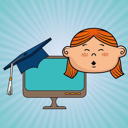 girl laptop: girl student laptop idea vector illustration eps10 eps 10 Illustration