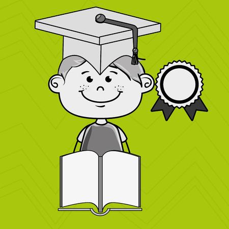 esp: boy student book cap vector illustration eps10 esp 10