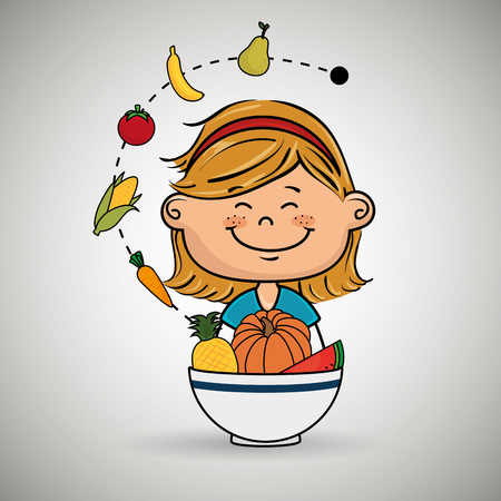 headband: girl  with plate of fruit and vegetables