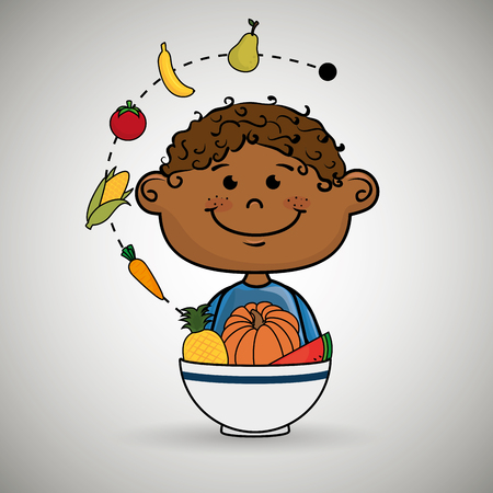 hungry kid: boy  with plate of fruit and vegetables