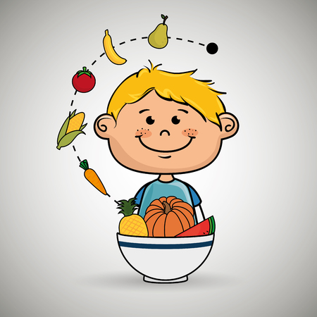 children eating: boy  with plate of fruit and vegetables