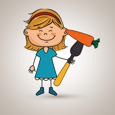 girl with fork and carrot Illustration
