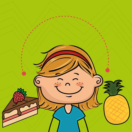 porcion de torta: chica, tarta, fruta Vectores