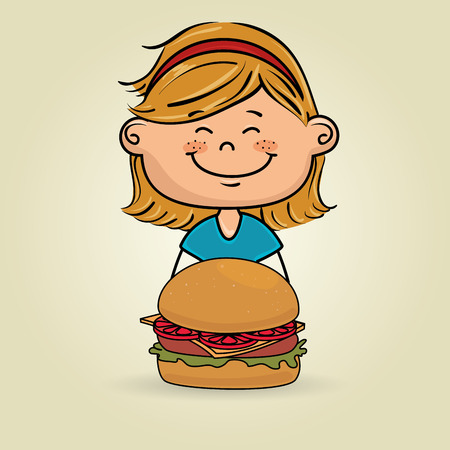 mouth screen: girl and burger