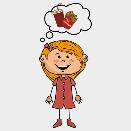 night dress: girl and fast food