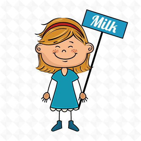 girl with milk sign
