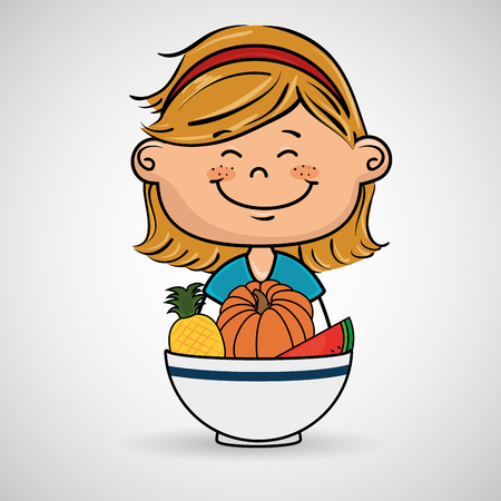 girl and plate of fruits and vegetables vector illustration graphic