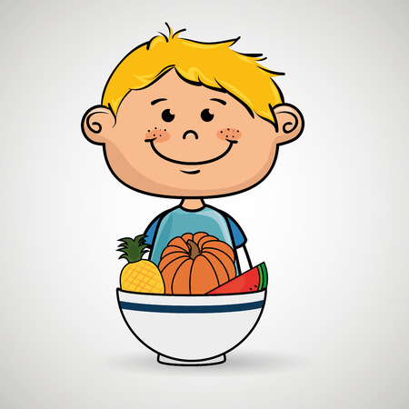 boy and plate of fruits and vegetables vector illustration graphic