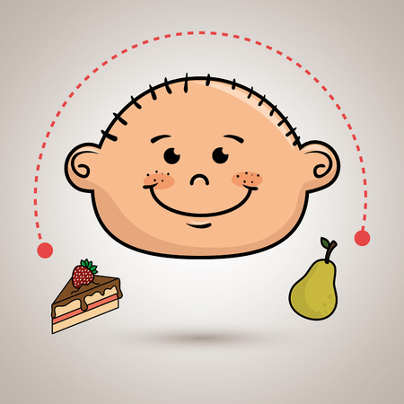 boy with fruit and cake