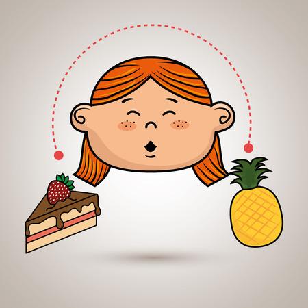 porcion de torta: chica con la torta y de la fruta