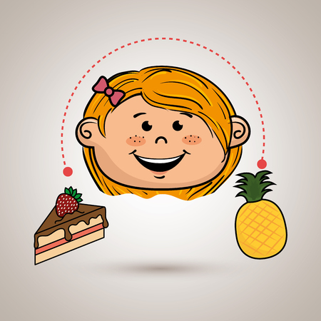 girl with cake and fruit Illustration