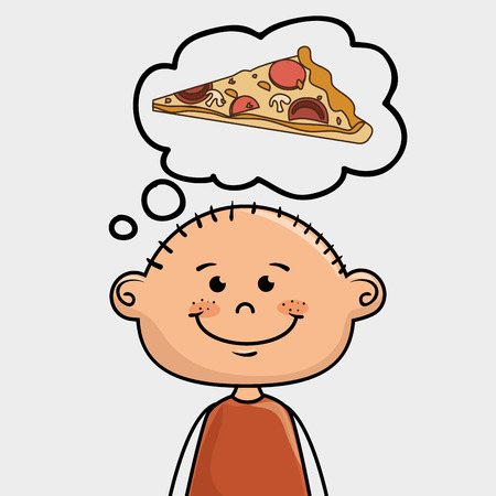 lunch room: boy and pizza Illustration