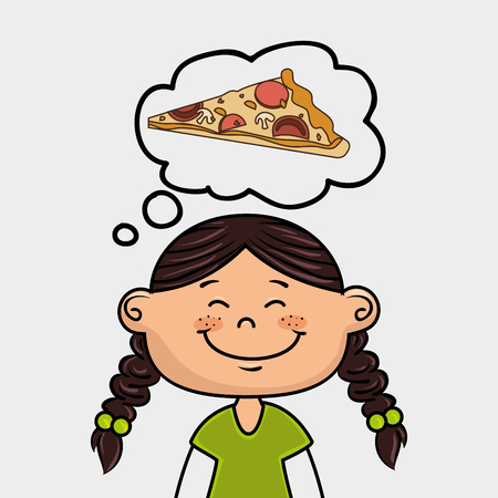 cheesy: girl and pizza Illustration