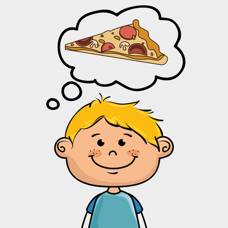 boy and pizza Illustration