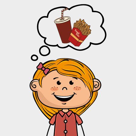 girl pizza food speak vector illustration graphic