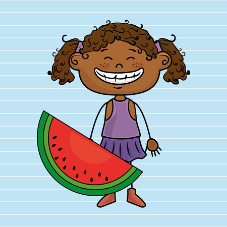 little girl eating: girl cartoon fruit food vector illustration graphic