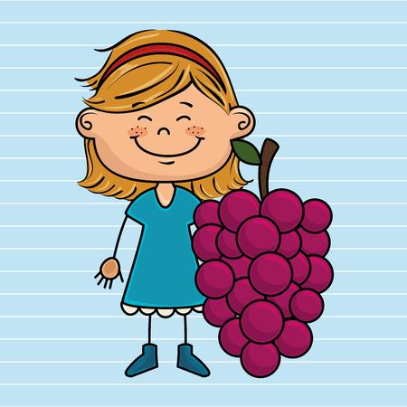 headband: girl cartoon fruit food vector illustration graphic
