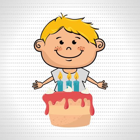 illustratio: boy cake candles dessert vector illustratio graphic Illustration