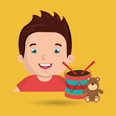 boy toys happy cartoon vector illustration graphic