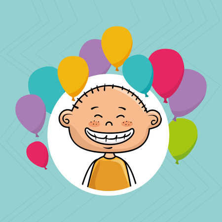 yeloow: boy balloons party cartoon vector illustration graphic