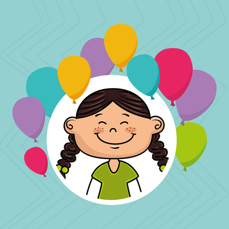 salute: girl balloons party cartoon vector illustration graphic