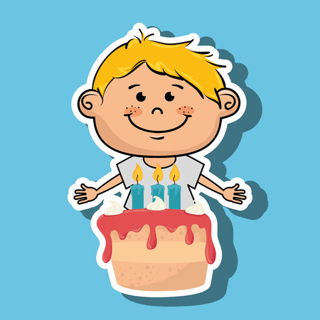 boy cake candles dessert vector illustratio graphic Illustration