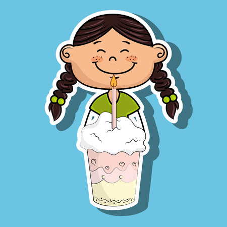 girl cup cake candle vector illustration graphic