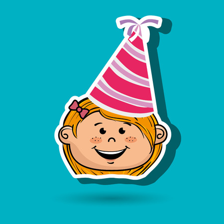 girl cartoon hat party vector illustration graphic