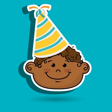 Illustrazione vettoriale di fumetto del cappello del partito del ragazzo grafico Vettoriali