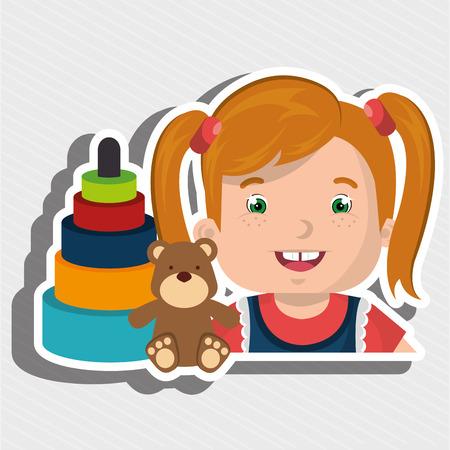 girl toys cartoon vector illustration graphic