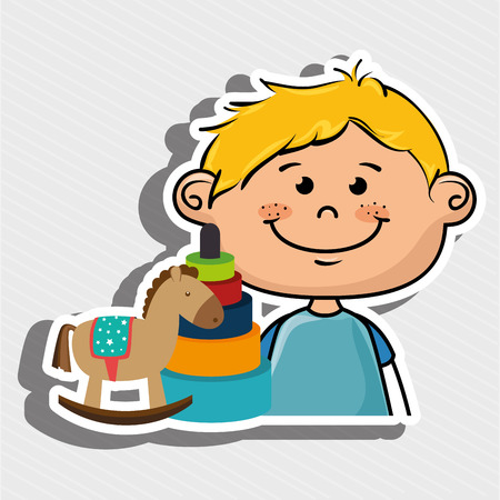 boy toys happy cartoon vector illustration graphic
