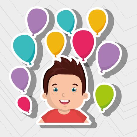 boy balloons party cartoon vector illustration graphic