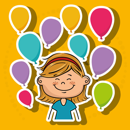 girl balloons party cartoon vector illustration graphic