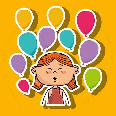 fille ballons bande dessinée fête illustration graphique