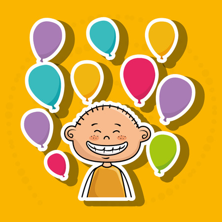 yeloow: boy balloons party cartoon vector illustration graphic