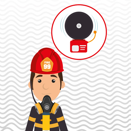 fire wire: man fire alarm vector illustration graphic Illustration