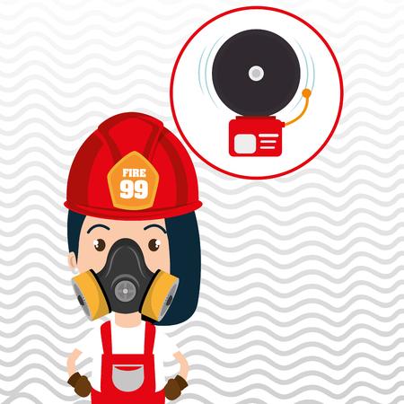 woman fire alarm vector illustration graphic Illustration